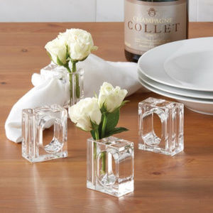 Other - A La Carte Clear Acrylic Flower Vase Napkin Rings